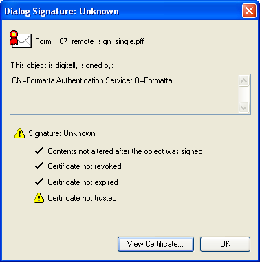 certificate form signing
